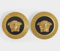 Medusa Ohrringe aus gold Messing und schwarzem Emaille