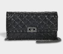 Rockstud Spike Schulter Clutch Tasche aus schwarzem und Ruthenium Split Lammleder