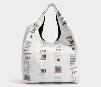 Shopping Tasche aus weißem und schwarzem Leder
