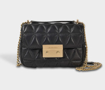 Sloan Small Chain Shoulder Bag in Black Quilted Lambskin