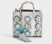 The Mini Grind Embellished Flowers Tasche aus silbernem Kuhleder und Metallfarbener Folie
