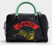 Große Handtasche mit Schulterriemen Jumping Tiger aus schwarzem Kalbsleder