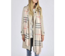 Gauze Giant Check Scarf in Stone Check Wool and Silk