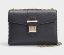 Marianne Shoulder Bag in Black Grainy Calf Leather
