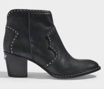 Stiefeletten mit Nieten Molly aus schwarzem Leder