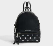 Rhea Zip Medium Backpack aus schwarzem Polished Leder
