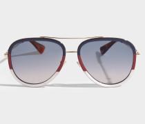 Injected Sonnenbrille aus goldenem Metall