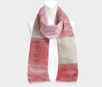 50X210 Multi Icons Jacquard Tuch aus Flamingo rosaner Baumwolle und Seide