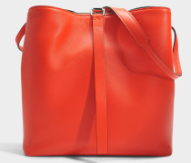 Frame Shoulder Bag aus Hot Coral und schwarzem Nappaleder