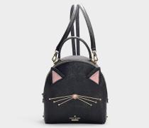 Rucksack Cat Binx Cat's Meow aus Kalbsleder Saffiano in Schwarz