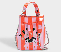 Icon Mini Bucket Tasche aus rotem Split Leder