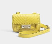 Ziggy Stud Mini Belt Tasche aus Ocre gelbem Nappa Leder