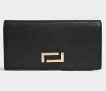Pia Folding Continental Geldbörse aus schwarzem Leder