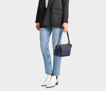 Medium Trunk Tasche aus dunkelblauem mattem Kalbsleder