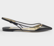 Erin Flat Plexi Slingbacks in Black Nappa Leather and Clear Plexi