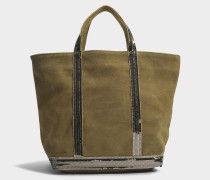 Leder und Pailletten Medium Tote Bag aus Algue Kuhleder