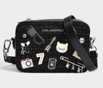 K/Kuilted Kamera Tasche mit Pins aus schwarzem Leder und Tweed