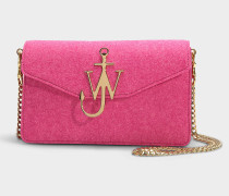 Handtasche Logo Purse aus Filz und rosa Kalbsleder