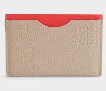 Simple Card Holder aus sandfarbenem und rotem Soft Kalbsleder und Kalbsleder