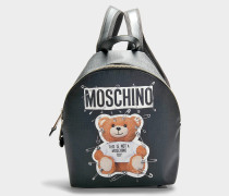 Kleiner Rucksack Teddy Safety Pin aus schwarzem Kalbsleder