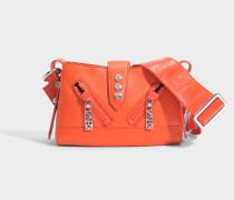Kalifornia Mini Shoulder Bag with Strap aus rotem Kalbsleder