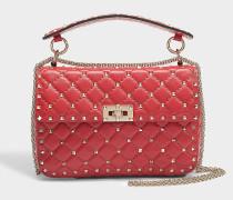 Handtasche Rockstud Spike Medium aus rotem Kalbsleder