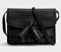 Small Macken Crossbody Tasche aus schwarzem Kalbsleder