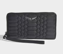Portemonnaie mit Reißverschluss Compagnon aus schwarzem Kalbsleder