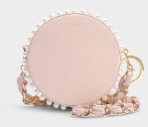 Kleine Handtasche Rena Circle aus rosa Kalbsleder