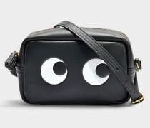 Mini Handtasche Eyes Right aus schwarzem Kalbsleder