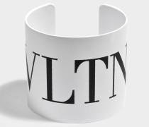 VLTN Large Cuff Bracelet aus weißem und schwarzem Metall