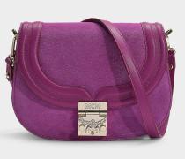 Kleine Handtasche Trisha Suede aus lila Kalbsleder