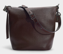 Handtasche Duffle aus Bordeauxrotem Kalbsleder