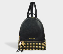 Rhea Zip Medium Pyramid Studs Backpack in Black Grained Calfskin