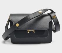 Mini Trunk Tasche aus schwarzem Saffiano Leder
