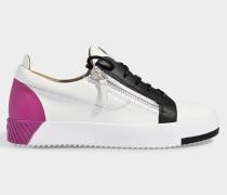 Sneaker May aus weißem und violetten Nappaleder