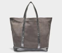 Washed Leder und Pailletten Medium + Tote Bag aus Acier Kuhleder