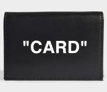 Kartenetui mit Taschenklappe 'Card' aus schwarzem und weißem Kalbsleder