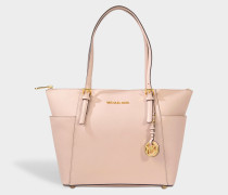 Jet Set Item East/West Top Zip Tote Bag in Soft Pink Grained Calfskin