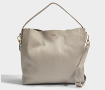 Capriccio Medium Hobo Tasche aus grauem Kalbsleder