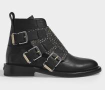 Stiefel Laureen Flap aus schwarzem Leder