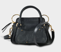 See by Chloé Miya Small Double Function Shoulder Bag aus schwarzem Rindsleder und Wildleder