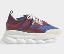 Sneaker Sports Oversized Chain aus blauem und rosa Stoff