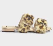 Mules aus Fake Fur Leopard Nude