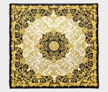 Gold Hibiscus Print Schal 90x90 in bunter Seide