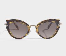 Sonnenbrille aus braunem Metall und Acetat