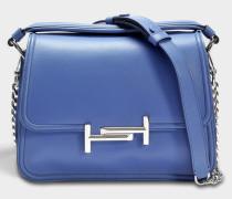 Double T Small Messenger Tasche aus Jeans blauem Grace Lux Kalbsleder
