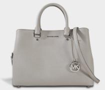 Savannah Large Satchel Tasche aus Pearl grauem Saffia Leder