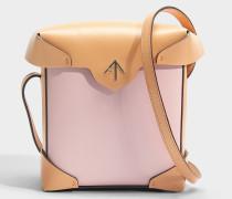 Mini Pristine Tasche aus bubblegumfarbenem und Antique peachfarbenem Vegetable Tanned Kalbsleder