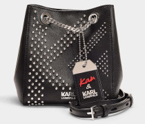 Bucket Bag Karl x Kaia Velours aus schwarzem Kalbsleder